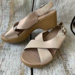Dasko pearl white platform sandals